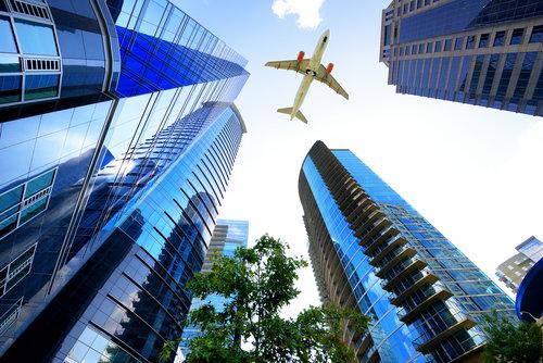 atlanta-downtown-high-rises-airplane